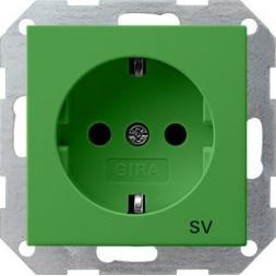 Розетка Gira System 55 Schuko SV с/з 16A 250V безвинтовой зажим зеленый 045502