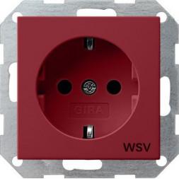 Розетка Gira System 55 Schuko WSV с/з 16A 250V безвинтовой зажим красный 044902
