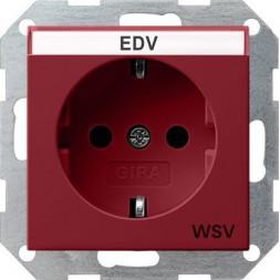 Розетка Gira System 55 Schuko WSV с/з 16A 250V безвинтовой зажим красный 047402