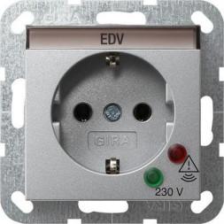 Розетка Gira System 55 Schuko с защитой от перенапряжения с/з 16A 250V безвинтовой зажим алюминий 04