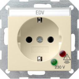 Розетка Gira System 55 Schuko с защитой от перенапряжения с/з 16A 250V безвинтовой зажим кремовый гл