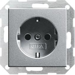 Розетка Gira System 55 Schuko с/з 16A 250V безвинтовой зажим алюминий 046626