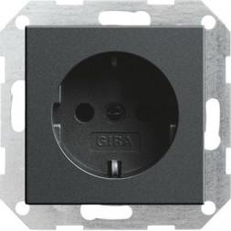 Розетка Gira System 55 Schuko с/з 16A 250V безвинтовой зажим антрацит 018828
