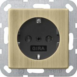 Розетка Gira System 55 Schuko с/з 16A 250V безвинтовой зажим бронза/антрацит 0188603