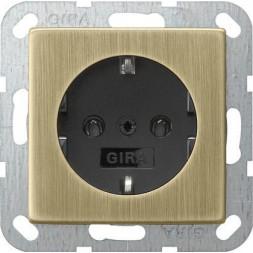 Розетка Gira System 55 Schuko с/з 16A 250V безвинтовой зажим бронза/черный 0466603