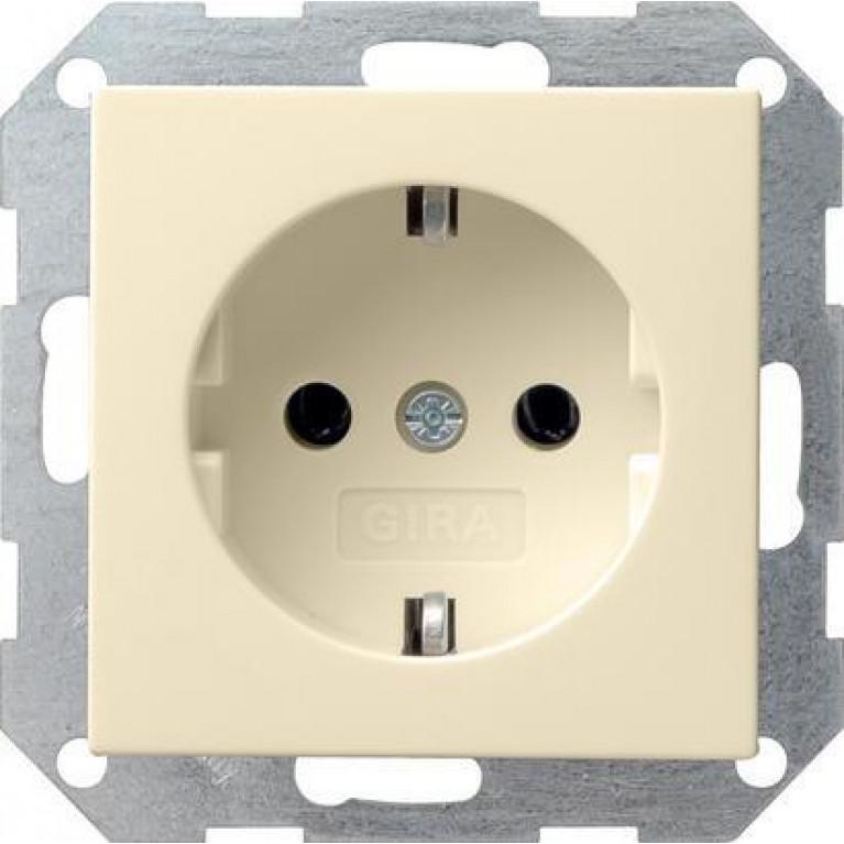 Розетка Gira System 55 Schuko с/з 16A 250V безвинтовой зажим кремовый глянцевый 046601