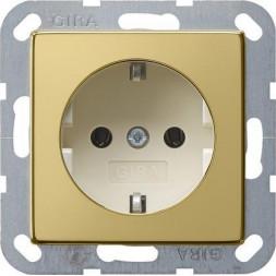 Розетка Gira System 55 Schuko с/з 16A 250V безвинтовой зажим латунь/кремовый 0188614