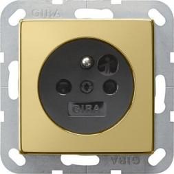 Розетка Gira System 55 Schuko с/з 16A 250V безвинтовой зажим латунь/черный 0188604
