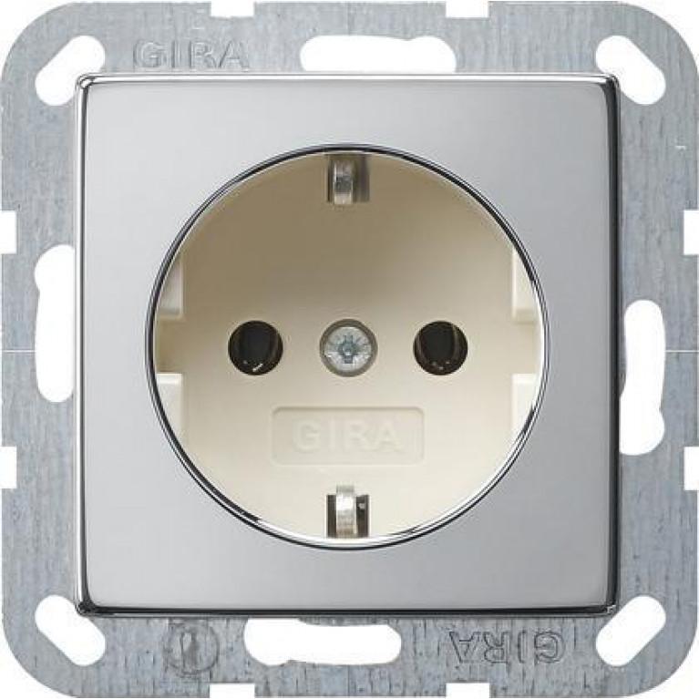 Розетка Gira System 55 Schuko с/з 16A 250V безвинтовой зажим хром/кремовый 0188615
