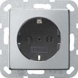 Розетка Gira System 55 Schuko с/з 16A 250V безвинтовой зажим хром/черный 0188605