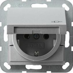 Розетка Gira System 55 Schuko с/з с крышкой 16A 250V безвинтовой зажим алюминий 045426