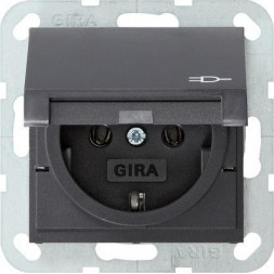 Розетка Gira System 55 Schuko с/з с крышкой 16A 250V безвинтовой зажим антрацит 045428