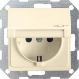 Розетка Gira System 55 Schuko с/з с крышкой 16A 250V безвинтовой зажим кремовый глянцевый 045401