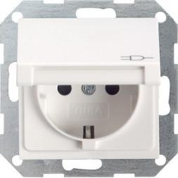 Розетка Gira System 55 Schuko с/з с крышкой 16A 250V безвинтовой зажим чисто-белый глянцевый 045403