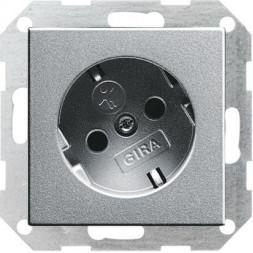 Розетка Gira System 55 Schuko с/з со шторками 16A 250V безвинтовой зажим алюминий 041826