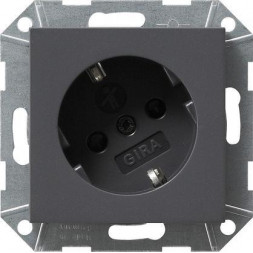 Розетка Gira System 55 Schuko с/з со шторками 16A 250V безвинтовой зажим антрацит 041828