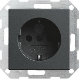 Розетка Gira System 55 Schuko с/з со шторками 16A 250V безвинтовой зажим антрацит 045328