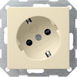 Розетка Gira System 55 Schuko с/з со шторками 16A 250V безвинтовой зажим кремовый глянцевый 041801