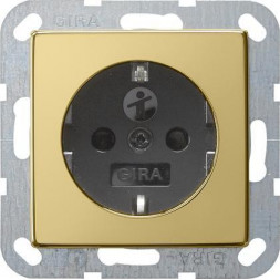Розетка Gira System 55 Schuko с/з со шторками 16A 250V безвинтовой зажим латунь/черный 0453604