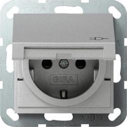 Розетка Gira System 55 Schuko с/з со шторками крышкой 16A 250V безвинтовой зажим алюминий 041426