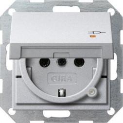 Розетка Gira System 55 Schuko с/з со шторками крышкой 16A 250V безвинтовой зажим алюминий 276326