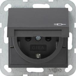 Розетка Gira System 55 Schuko с/з со шторками крышкой 16A 250V безвинтовой зажим антрацит 041428