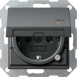 Розетка Gira System 55 Schuko с/з со шторками крышкой 16A 250V безвинтовой зажим антрацит 276328