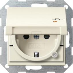 Розетка Gira System 55 Schuko с/з со шрышкой 16A 250V безвинтовой зажим кремовый глянцевый