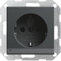 Розетка Gira System 55 Schuko с/з со шторками подсветкой 16A 250V безвинтовой зажим антрацит 117028