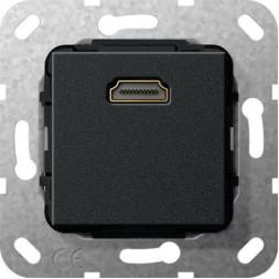 Розетка HDMI Gira System 55 разветвительный кабель черный матовый 567010