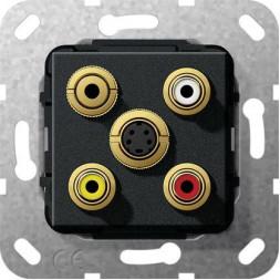 Розетка S-Video/2RCA/Minijack/композитный Gira System 55 черный матовый 566310