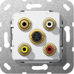 Розетка S-Video/2RCA/Minijack/композитный Gira System 55 чисто-белый глянцевый 566303