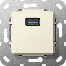 Розетка USB 3.0 A Gira System 55 кремовый глянцевый 568201