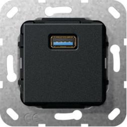 Розетка USB 3.0 A Gira System 55 разветвительный кабель черный матовый 568310