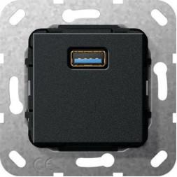 Розетка USB 3.0 A Gira System 55 черный матовый 568210