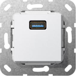 Розетка USB 3.0 A Gira System 55 чисто-белый глянцевый 568203