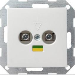 Розетка двойная Gira System 55 для выравнивания потенциалов чисто-белый шелковисто-матовый 040503