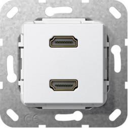 Розетка двойная HDMI Gira System 55 чисто-белый глянцевый 567103