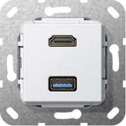 Розетка двойная HDMI-USB 3.0 A Gira System 55 чисто-белый глянцевый 567803