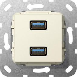 Розетка двойная USB 3.0 A Gira System 55 кремовый глянцевый 568401