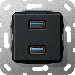 Розетка двойная USB 3.0 A Gira System 55 черный матовый 568410