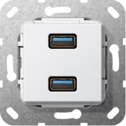 Розетка двойная USB 3.0 A Gira System 55 чисто-белый глянцевый 568403
