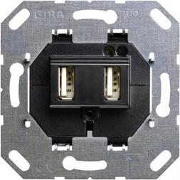 Розетка двойная USB А Gira System 55 для электропитания выходы 235900