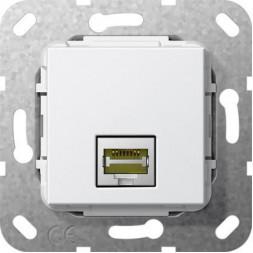 Розетка компьютерная MJ RJ45 Gira System 55 6a кат чисто-белый глянцевый 569503