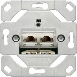 Розетка компьютерная двойная наклонная Gira System 55 6 кат 245200