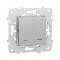 Выключатель двухклавишный Schneider Electric Unica New NU521130N