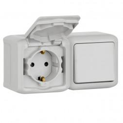 Блок выключатель одноклавишный и розетка 2К+З Legrand Quteo 16A 250V с/з со шторками крышкой IP44 се