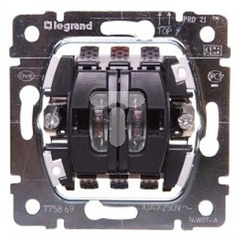 Выключатель двухклавишный Legrand Galea Life 10A 250V с подсветкой на 2 цепи 775869