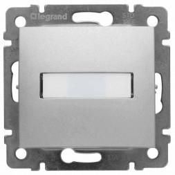 Выключатель кнопочный одноклавишный Legrand Valena 10A 12V с подсветкой держателем этикетки алюминий