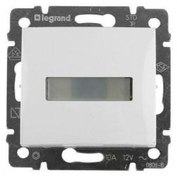 Выключатель кнопочный одноклавишный Legrand Valena 10A 12V с подсветкой держателем этикетки белый 77